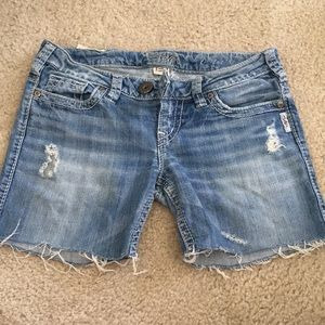 Silver jeans cut offs made into long shorts!